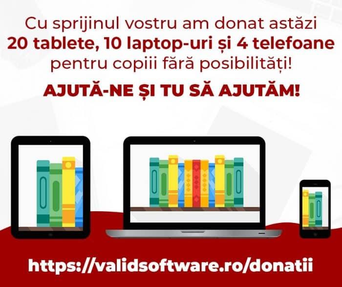 Donație 20 tablete, 10 laptop-uri și 4 telefoane pentru copiii fără posibilități de a participa la Școala Online